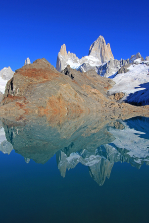Beautiful reflection of Mt Fitz Roy, Laguna de Los Tres in Los Glaciares National Park, Patagonia, Argentina, South America
