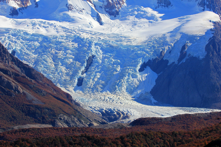 Torre Glacier, close up in Los Gaciares National Park, El Chalten, Patagonia, Argentina Stock Photo
