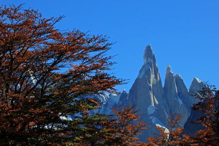 Cerro Torre mountain in autumn colors. Los Glaciares National park, Patagonia, Argentina Stock Photo