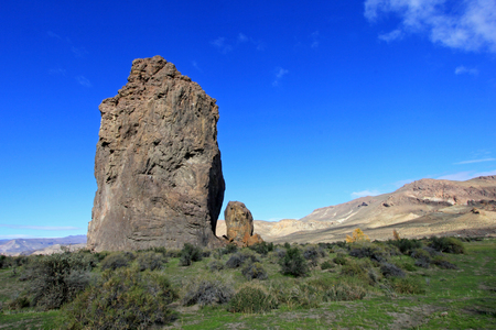Piedra Parada monolith in the Chubut valley, along route 12, Chubut, Argentina