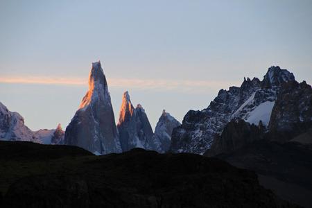 cerro fitzroy: Cerro Torre mountainline at sunset, Los Glaciares National Park, El Challten, Patagonia, Argentina