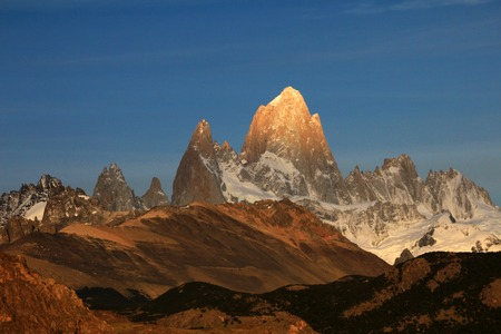Fitz Roy and Cerro Torre mountainline at sunrise, Los Glaciares National Park, El Challten, Patagonia, Argentina Stock Photo