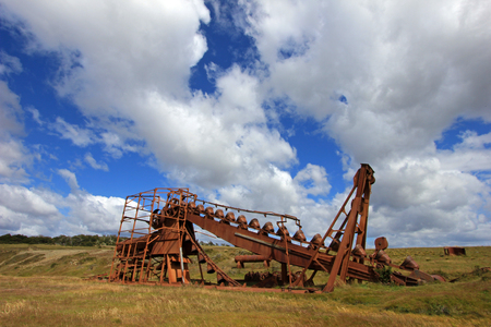 dredging: Abandoned gold dredge, near Lake Blanco, the english mechanical dredge was engaged in gold mining from 1904 to 1910, Tierra Del Fuego, Patagonia, Chile