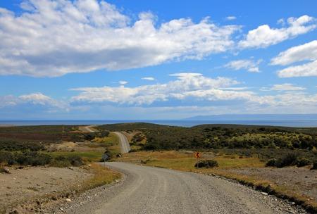 tierra del fuego: Gravel road trough landscape in Tierra del Fuego, Patagonia, Chile