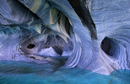 The marble cathedral chapel, Capillas De Marmol, along Carretera Austral, lake General Carrera, Puerto Tranquilo, Chile
