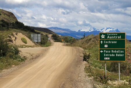 Carretera Austral highway, ruta 7, with road sign, Patagonia Chile