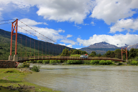 Van driving over bridge, Carretera Austral, on the way to Villa O'Higgins, Patagonia, Chile