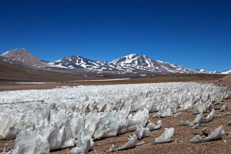 Ice or snow penitentes, San Francisco Mountain Pass, Chile Argentina, South America Stock Photo