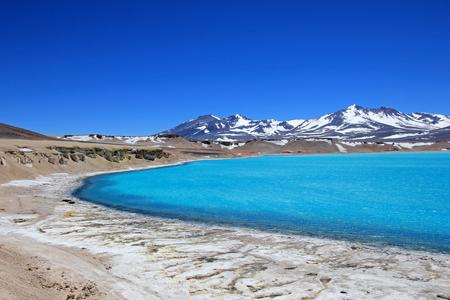 nevado: Beautiful Green Lagoon, Laguna Verde, near mountain pass San Francisco and Nevado Ojos Del Salado, Atacama, Chile, South America