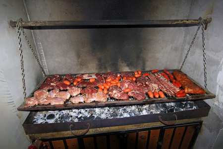 Typical argentinean parillada BBQ in Argentina or Chile, South America
