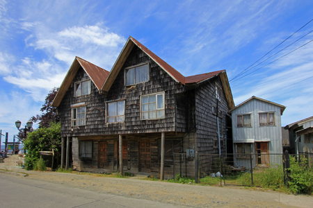 Typical wooden house on Chiloe Island, Chile, South America