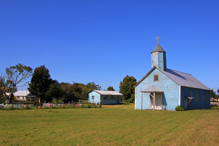 colonial church: Wooden church on the island of Chiloe, Patagonia, Chile, South America