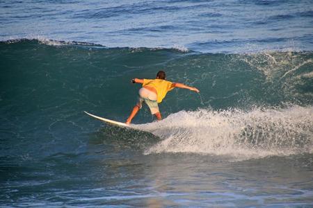 Local surfer in the wave, El Zonte beach, El Salvador, Central America Stock Photo