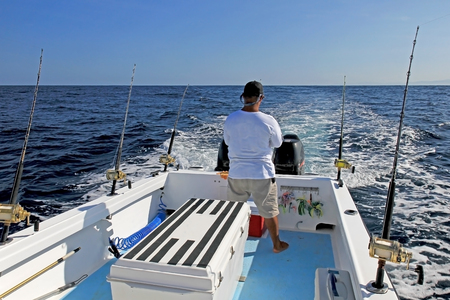 Big game or deep sea fishing in Costa Rica, Central America Stok Fotoğraf
