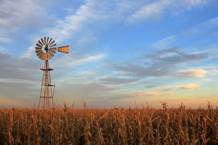 Texas style westernmill windmill at sunset, Argentina, South America Stock Photo