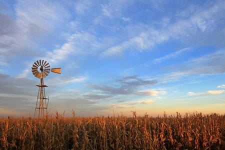 Texas style westernmill windmill at sunset, Argentina, South America Standard-Bild