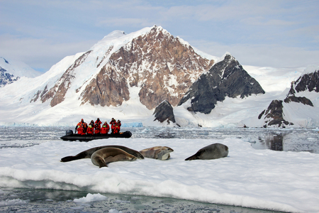 Inflatable boat full of tourists, watching for whales and seals, Antarctic Peninsula, Antarctica Stok Fotoğraf - 83184733