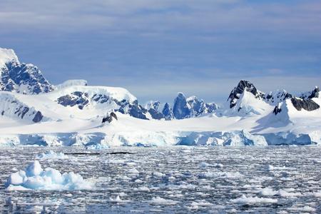 Beautiful mountains and ice floes, Antarctic Peninsula, Antarctica Stock Photo