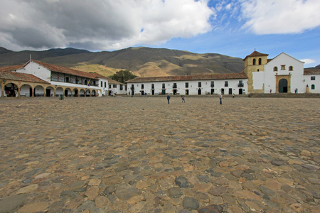 A view of the town square in Villa De Leyva, Colombia, South America Reklamní fotografie