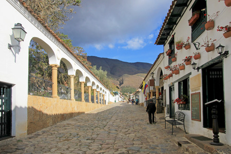 Houses and street, Villa De Leyva, Colombia, South America 스톡 콘텐츠