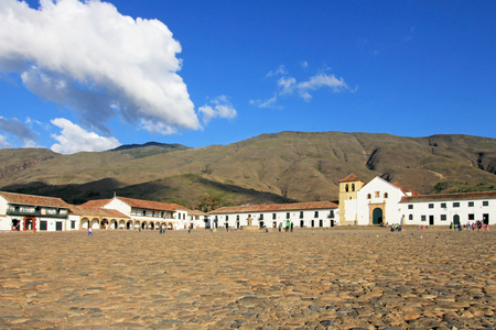 A view of the town square in Villa De Leyva, Colombia, South America 写真素材