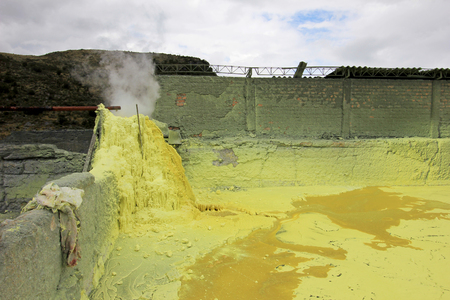 Sulfur mine and mining industry, vulcano Purace, near Popayan, Colombia, South America