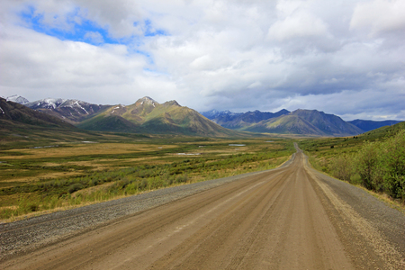 Endless Dempster Highway near the arctic circle, remote gravel road leading from Dawson City to Inuvik, Canada