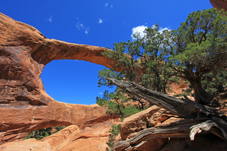 Double O Arch in natural colors at Arches National Park in Utah, USA