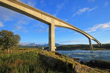Bridge over the fjord of the whirlpools of the maelstrom of Saltstraumen, Nordland, Norway, Scandinavia, Europe Stock Photo