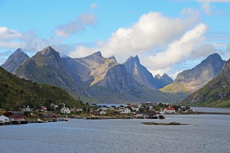Fishing village Reine with mountains in the background, Lofoten Island, Norway, Scandinavia, Europe