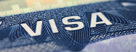 Visa to The United States of America, USA, close-up focusing on the word VISA