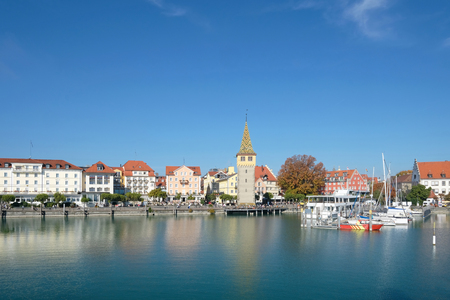 Lindau harbor and cityscape in summer, Germany, Europe