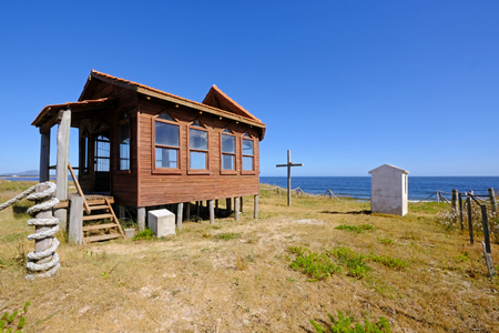 Nice little wooden church chapel on a beauch at atlantic ocean, Uruguay, South America