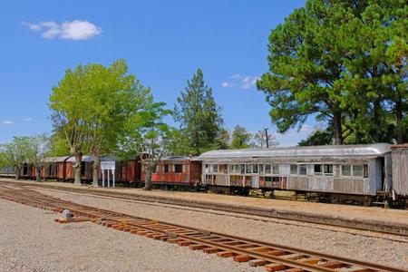 PIEDRA SOLA, PAYSANDU, URUGUAY, JANUARY 05, 2018: Abandoned railway train station of Piedra Sola, Salto Uruguay South America Editorial