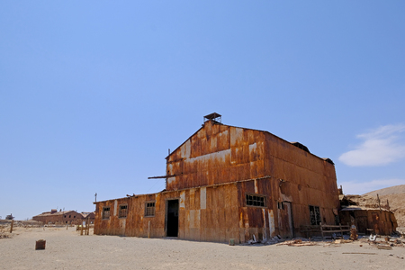 Abandoned Humberstone and Santa Laura saltpeter works factory, near Iquique, northern Chile, South America. This abandoned nitrate town was extremely important for the early economy of Chile.