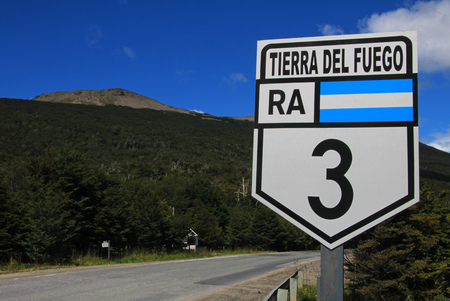 Road sign ruta route 3, Tolhuin near Ushuaia, Tierra Del Fuego, Patagonia, Argentina, South America