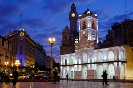 Buenos Aires Cabildo, the old town council, by night, Plaza De Mayo, main city square in Buenos Aires, Argentina, South America