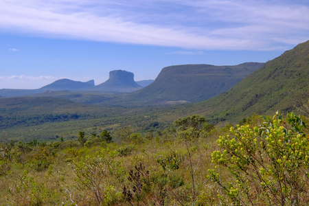 View of the Chapada Diamantina landscape in the Vale Do Capao valley, with the Morro Do Morrao mountain, Chapada Diamantina National Park, Bahia, Brazil, South America 写真素材