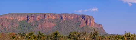 Beautiful red mountain landscape at Chapada Dos Guimaraes, it is the geographic center of South America, Cuiaba, Mato Grosso, Brazil, South America