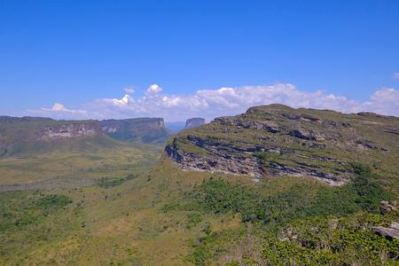 View of the Chapada Diamantina landscape in the Vale Do Capao valley, with the Morro Do Morrao mountain, view from Morro Do Pai Inacio, Chapada Diamantina National Park, Bahia, Brazil, South America