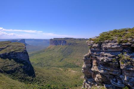 Chapada Diamantina National Park table mountain landscape, view from Morro Do Pai Inacio, Lencois, Bahia, Brazil, South America