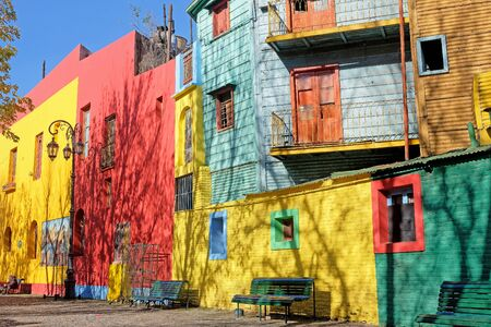 BUENOS AIRES, ARGENTINA, JUNE 18, 2018: Traditional colorful houses on Caminito street in La Boca neighborhood, Buenos Aires, Argentina, South America on June 18, 2018 Editorial