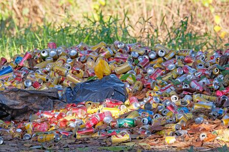 PORTO JOFRE, MATO GROSSO, BRAZIL, JULY 25, 2018: Littering of aluminum beverage cans in the middle of the nature paradise of Pantanal, Porto Jofre, Mato Grosso, Brazil, South America on July 25, 2018 Editorial