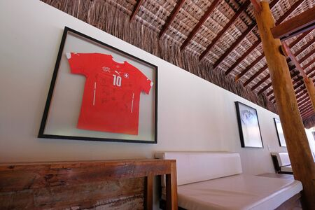 PORTO SEGURO, BAHIA, BRAZIL, AUGUST 29, 2018: Shirt of the Swiss National Soccer Team hanging in the luxury tropical Hotel Torre Resort near Porto Seguro, Bahia, Brazil, South America