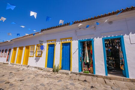 Colorful houses of historical center in Paraty, a preserved portuguese colonial and brazilian Imperial municipality, Rio de Janeiro, Brazil, South America