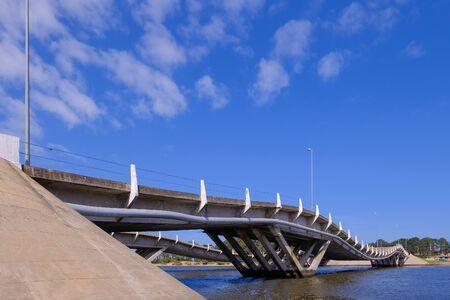 Wavy bridge, created by the engineer Leonel Viera, Punta Del Este, Maldonado, Uruguay, South America Imagens