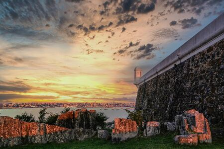 Panoramic view of west coast of Montevideo from Fortaleza General Artigas fortress with a beautiful cloudy sky at sunset, Montevideo, Uruguay, South America Фото со стока