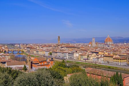 Panoramic view of the city of Florence with Arno river and the famous Cathedral Duomo Santa Maria Del Fiore, Tuscany, Italy, Europe