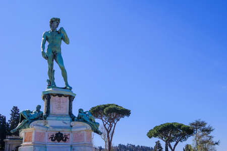 Statue Of David at Piazzale Michelangelo, built 1869 and designed by architect Giuseppe Poggi, Florence, Tuscany, Italy, Europe