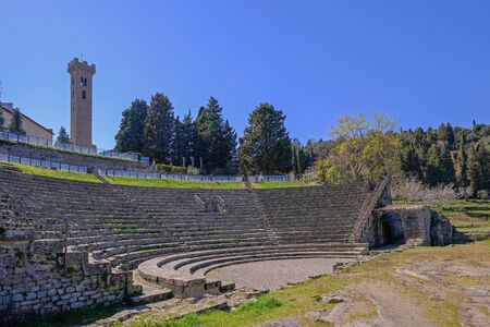 Preserved Roman theatre amphitheater of the I century BC, Fiesole, Florence Tuscany, Italy, Europe